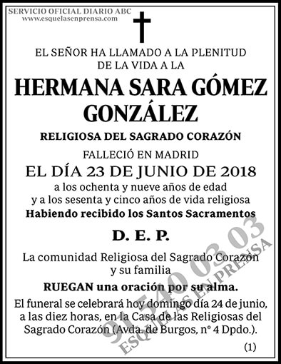Hermana Sara Gómez González